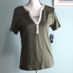 Tops - Karen Scott - Short Sleeves Olive Green Top